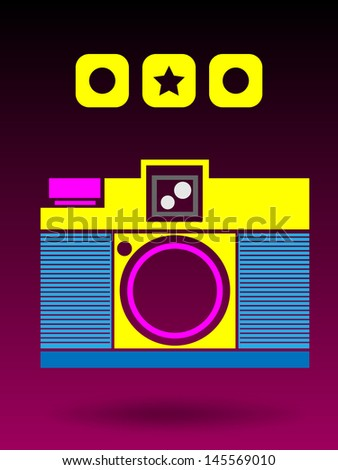 EPS 10 Vector 2D Multi Color Lomo Analog Camera Background Concept - stock vector