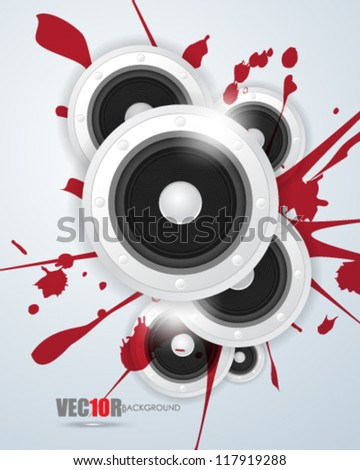 eps10 vector digital speaker and ink concept design - stock vector