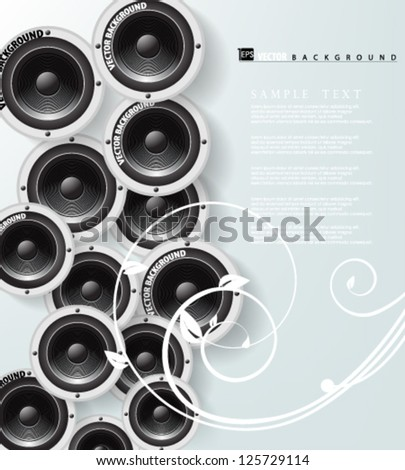 Eps10 Vector Digital Speaker with elegant swirl Background - stock vector