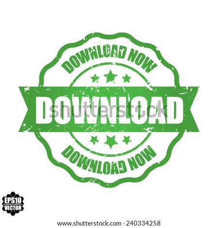 EPS10 Vector : Download  Green Grunge Rubber Stamp with Star And Ribbon. (Sticker, Tag, Icon, Symbol)  - stock vector