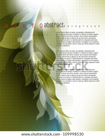 eps10 vector elegant abstract foliage wave elements template background - stock vector