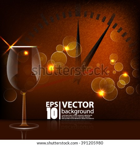 Eps10 Vector elegant celebration concept background with champagne glass and clock with sparkle concept design - stock vector