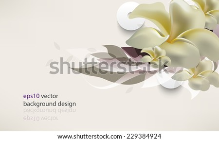 eps10 vector elegant frangipani flower with silhouette leaves invitation background