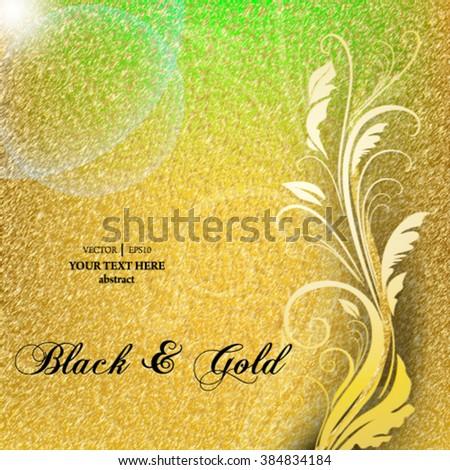 Eps10 vector elegant gold foliage background - stock vector
