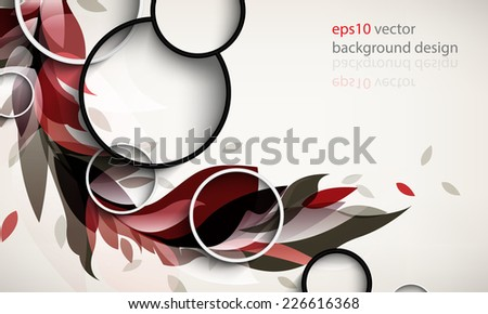 eps10 vector elegant ornamental silhouette foliage elements background - stock vector