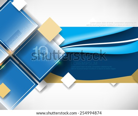 eps10 vector elegant overlapping geometric squares, rectangle frame with wave lines elements, blue concept corporate background design - stock vector
