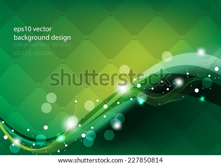 eps10 vector elegant wave elements on green cushion pattern background - stock vector