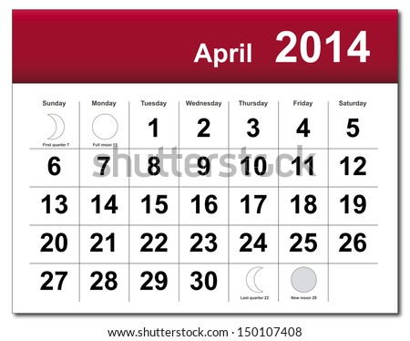 EPS10 vector file. April 2014 calendar. The EPS file includes the version in blue, green and black in different layers. Raster version available in my portfolio. - stock vector