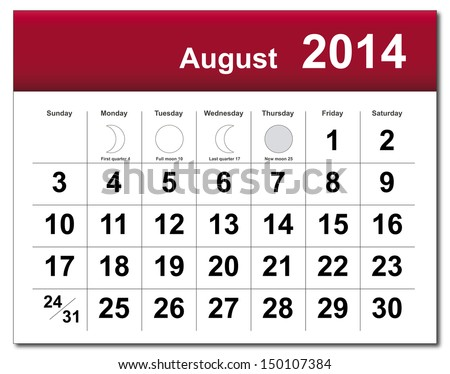 EPS10 vector file. August 2014 calendar. The EPS file includes the version in blue; green and black in different layers. Raster version available in my portfolio. - stock vector