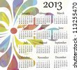 EPS10 vector file. 2013 calendar. Beautiful and colorful design over white. Raster version is in my portfolio. - stock photo