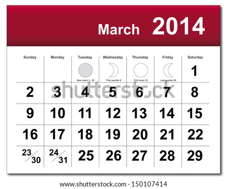 EPS10 vector file. March 2014 calendar. The EPS file includes the version in blue, green and black in different layers. Raster version available in my portfolio. - stock vector