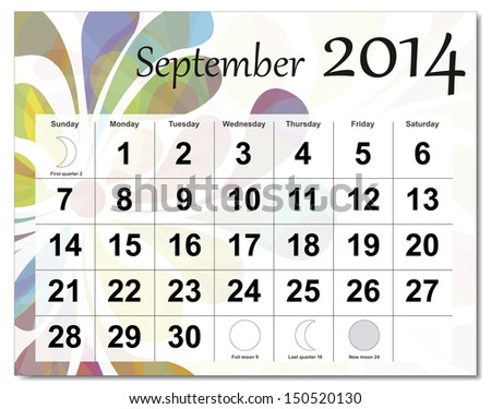 EPS10 vector file. September 2014 calendar. The EPS file includes the version in blue, green and black in different layers. Raster version available in my portfolio. - stock vector