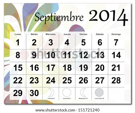 EPS10 vector file. Spanish version of September 2014 calendar. The EPS file includes the version in blue, green and black in different layers. Raster version available in my portfolio. - stock vector
