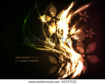 EPS10 vector flower vine design on dark background, colored red, yellow and green; composition has a surreal magic feel to it - stock vector