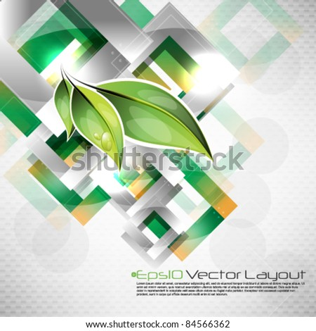 eps10 vector futuristic background with leaf elements - stock vector