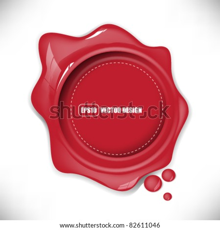 eps10 vector glossy red splat with round mark design - stock vector