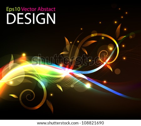 Eps10 Vector Glowing Colorful Foliage Background Design - stock vector