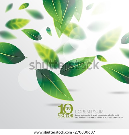 eps10 vector green spring falling leaves with depth of field nature background