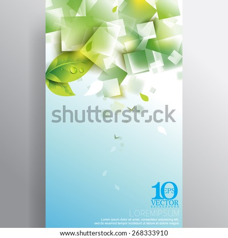 eps10 vector green spring fresh leaf water droplets overlapping geometric transparent squares background - stock vector