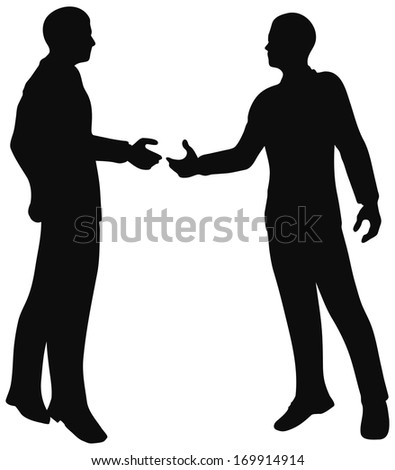 EPS 10 Vector. Handshake of business people standing up in silhouette. - stock vector