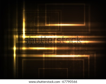 EPS10 vector high-tech design against dark background; composition is colored in shades of yellow and orange - stock vector