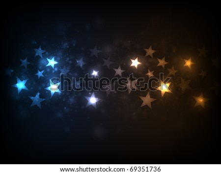 EPS10 vector horizontal star flow design against dark background - stock vector