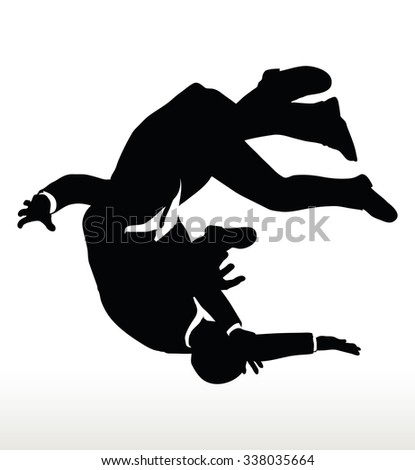EPS 10 Vector illustration in silhouette of businessman falling