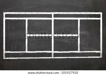 EPS10 Vector Illustration of a Blackboard with a Tennis court