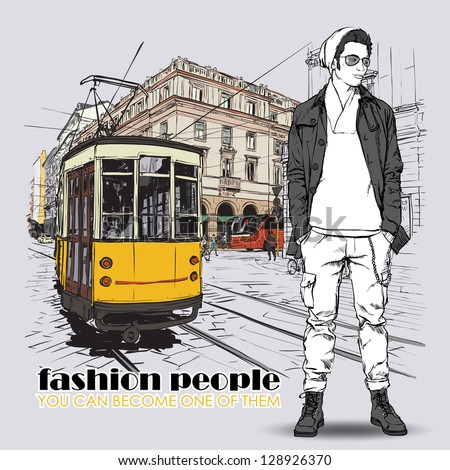 EPS10 vector illustration of a young stylish guy and old tram. Vintage style. - stock vector