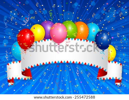 EPS 10 Vector illustration of balloons with ribbon. Used opacity and blending mode. Objects are layered.