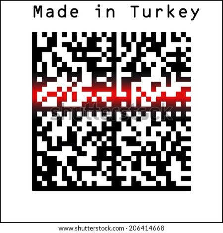 EPS 10 Vector Illustration of Barcode or Bar Code icon and red laser sensor beam over Made in Turkey - stock vector