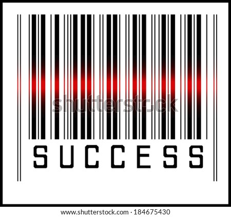 EPS 10 Vector Illustration of Barcode or Bar Code icon and red laser sensor beam over success - stock vector