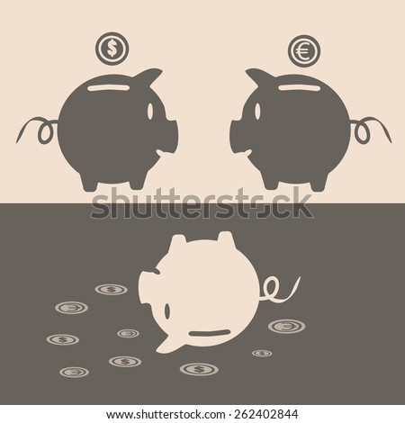 Eps 10 vector illustration of 2 brown piggy bank face to face with euro, dollar money coins over it and one upside down pink pig. Crashing, going down money value, currency exchange rates concept. - stock vector