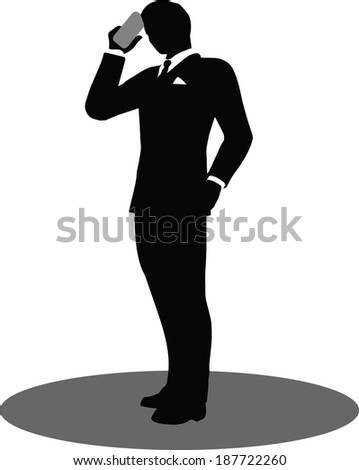 EPS 10 Vector illustration of business people on phone standing silhouette - stock vector