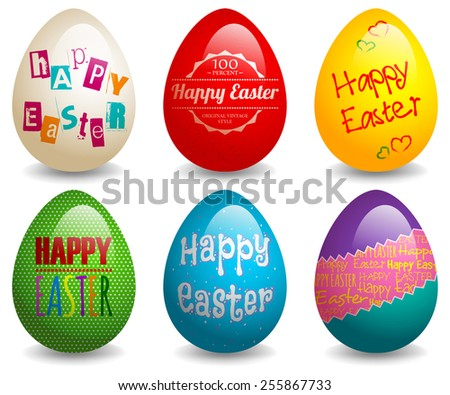 EPS 10 Vector illustration of colorful easter eggs set. Used gradient mesh and opacity on shadow and blending mode. RGB color mode. Eggs are grouped and easy to edit.