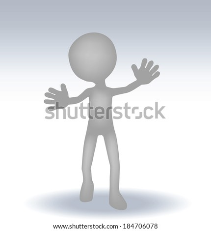 EPS 10 Vector Illustration of 3d small man waving hand
