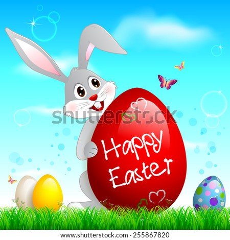 EPS 10 Vector illustration of Easter bunny holding egg. Used transparency and blending mode. Grass is in clipping mask. Objects are layered, easy to edit. - stock vector