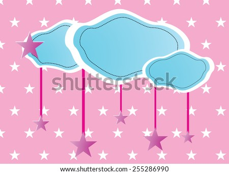 Eps 10 vector illustration of hand drawn skyscape,  blue clouds and white, purple stars on pink  sky background, wallpaper texture. Clouds and stars made of paper. - stock vector