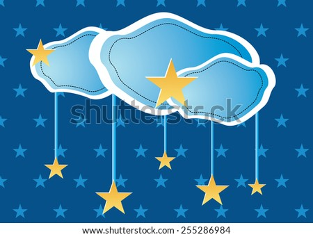 Eps 10 vector illustration of hand drawn skyscape, white blueish clouds and golden, yellow stars on dark blue  sky background, wallpaper texture. Clouds and stars made of paper. - stock vector