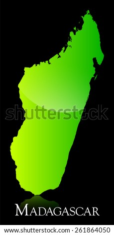 EPS 10 Vector illustration of Madagascar green shiny map. Used transparency.