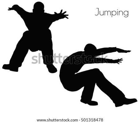 EPS 10 vector illustration of man in  Jumping  Action pose on white background