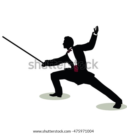 EPS 10 vector illustration of man silhouette in Still Pose Fencer