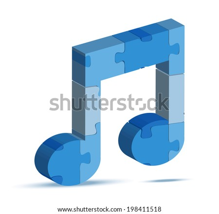 EPS 10 Vector Illustration of music icon in puzzle - stock vector