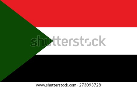 Eps8 vector illustration of original flat Sudan flag. Political symbol of state. Green white black stripes rectangles red triangle on top left. Official colors and proportions. No transparencies - stock vector