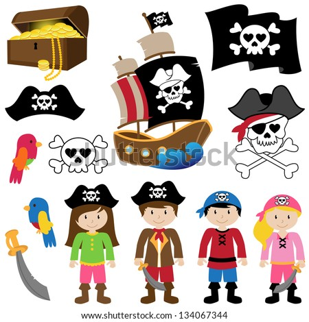 EPS10 Vector Illustration of Pirates - stock vector
