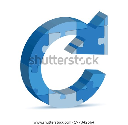 EPS 10 Vector Illustration of reload icon in puzzle - stock vector
