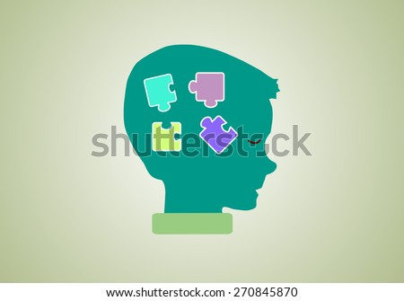 Eps 8 vector illustration of silhouette of boy, kid, child, person in profile with puzzle in his head isolated on green background wall. Make decision, looking for business idea, thinking,  concept. - stock vector
