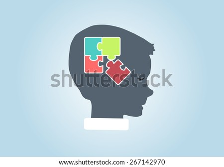 Eps 8 vector illustration of silhouette of boy, kid, child, person with puzzle in his head isolated on blue background wall. Good decision, business idea, discovery, achievement, education concept. - stock vector