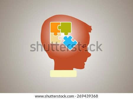 Eps 8 vector illustration of silhouette of boy, kid, child, person with puzzle in his head isolated on brown background wall. Good decision, business idea, discovery, achievement, education concept. - stock vector