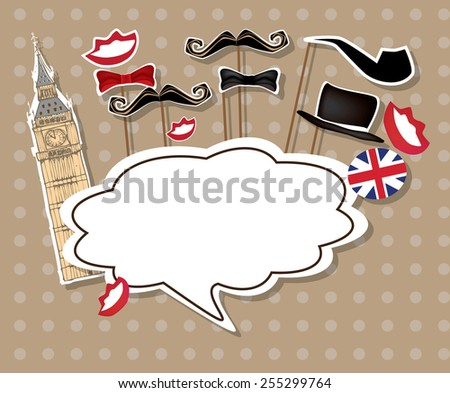 Eps 10 vector illustration of stylized english man and woman from London with blank empty white speech bubble for your text isolated on light brown background with polka dots. English society concept - stock vector